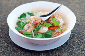 Thai Clear Noodle Soup with Shrimps