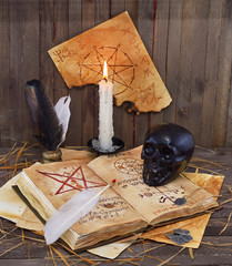 Black scull with pentacle