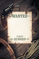 Old west background with wanted poster