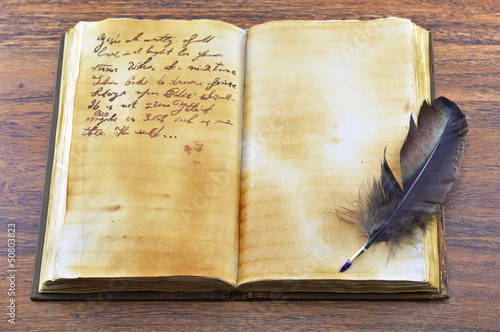 Old open book with quill