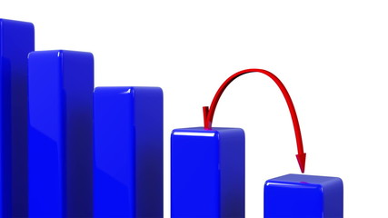 Red arrow going down a 3D bar chart in a loop