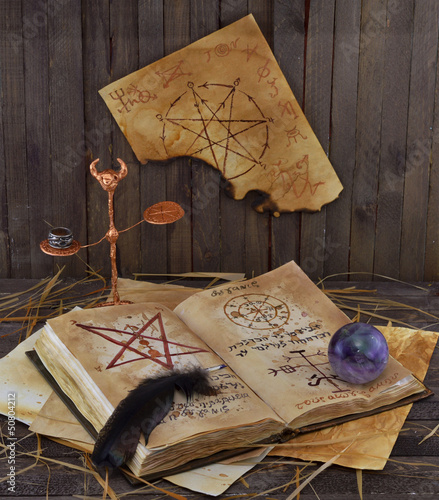 Magic book with ball and pentacle on the wall
