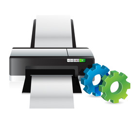 printer with industrial gears
