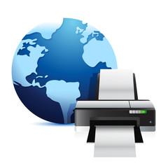printer and a international globe