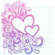 Love Hearts Sketchy Notebook Doodles Vector Illustration