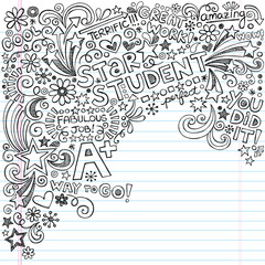Star Honors Student Scribble Inky Notebook Doodles Vector