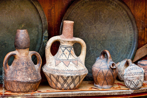 Vase and other products of the Moroccan potter's factories