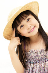Beautiful asian little girl thinking