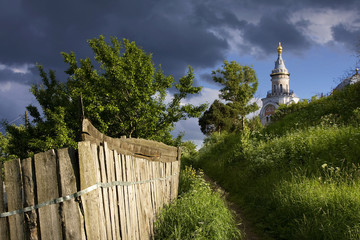 Russian church and dramatic clouds