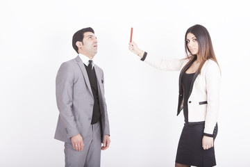 business woman showing executive red card