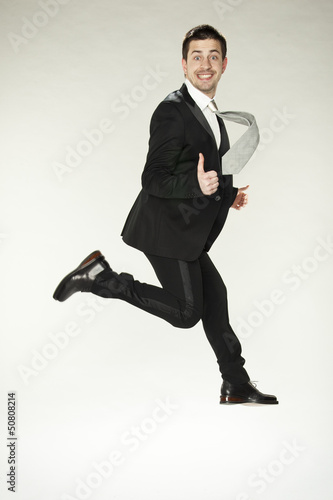 happy running businessman
