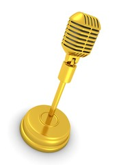 Vintage retro golden microphone on white background