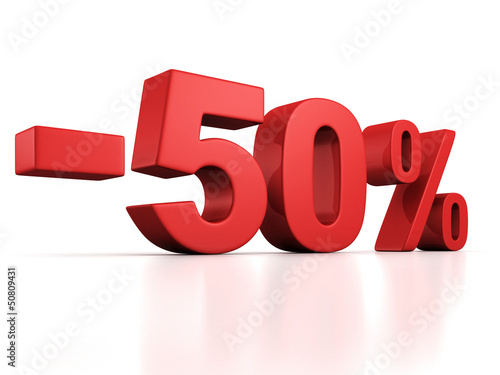 50 percent off discount red text on white