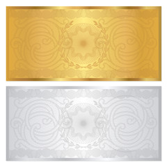 Gift Voucher (coupon) template with border. Gold / silver colors