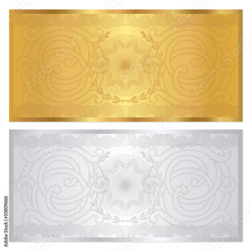 Gift Voucher Coupon Template With Border Gold Silver Colors