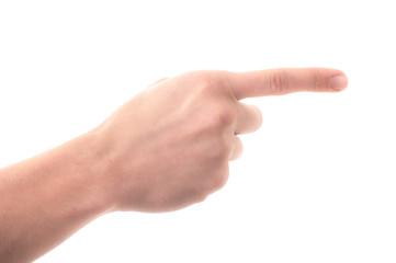 Letter 'G' in sign language, on a white background