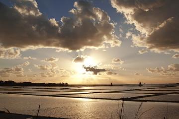 Sunset on saltern