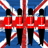 Guardsmen Marching Over A Union Jack Background