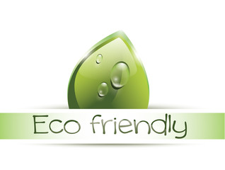 Eco friendly label with leaf
