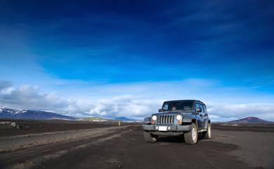 jeep wrangler in the volcanic esert