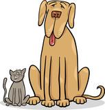 small cat and big dog cartoon illustration - 50812099
