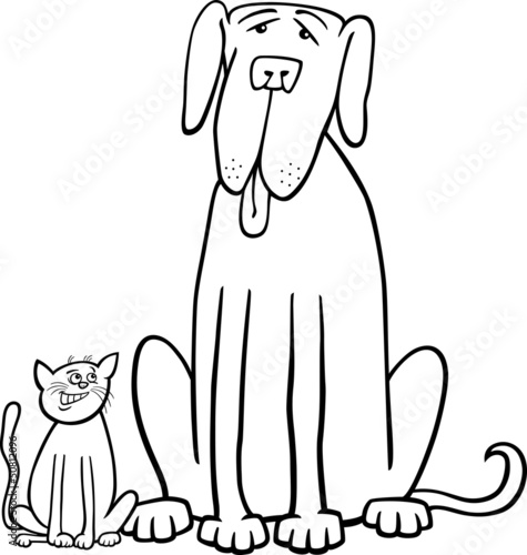 画动物友谊可爱的图形坐在宠物小猫尾巴快乐的性质插
