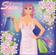 Spring sale shopping girl, vector illustration