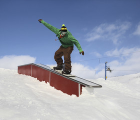 Snowboarder in park