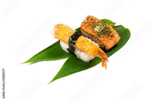 Sushi on bamboo leaves