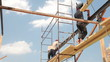 Roofing works - builders on scaffolds
