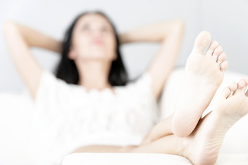 Woman with her feet up