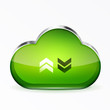 Vector green modern 3d glass cloud icon