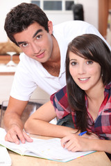 Teens doing homework