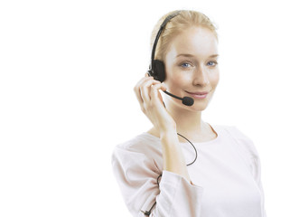 Confident young female customer service agent with headset