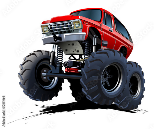 Foto op Aluminium Cartoon cars Cartoon Monster Truck