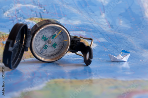 Map and compass. Cruise concept.