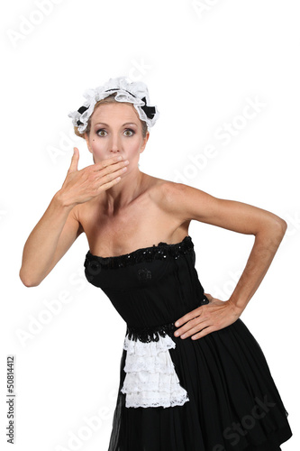 Woman dressed as maid