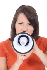 Brunette woman speaking into megaphone