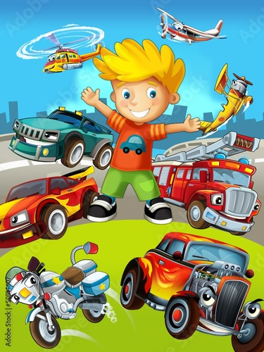 Poster Cars The vehicles - the label with kid - illustration