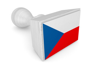 Wooden stamp with flag of Czech Republic.