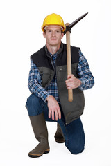 Man holding pickaxe