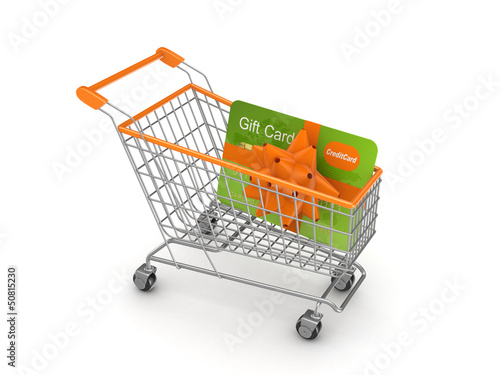 Shopping trolley with credit card.