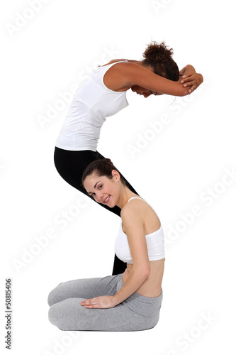 Two female gymnasts