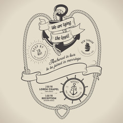 Vintage nautical themed wedding invitation with place for text
