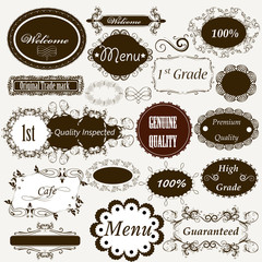 Calligraphic retro elements and page decorations