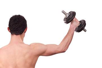 Rear view of a young man doing shoulder exercise with dumbbell i