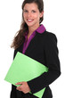A businesswoman with a file.