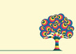 Abstract Retro Tree Vector