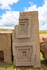 Megalithic stone with intricate carving in Puma Punku