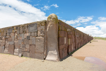 Walls around the temple Kalasasaya that is part of Tiwanaku